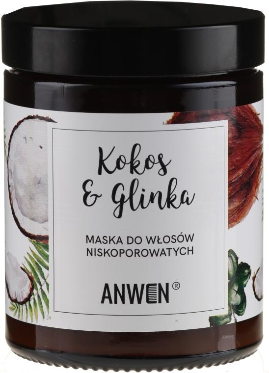 Maska do włosów niskoporowatych Kokos i glinka - Anwen — фото N1