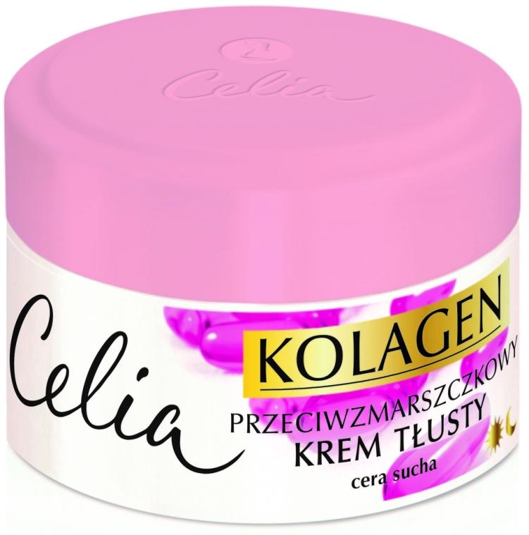 Przeciwzmarszczkowy krem tłusty na dzień i na noc do cery suchej Kolagen i witaminy A i E - Celia Kolagen