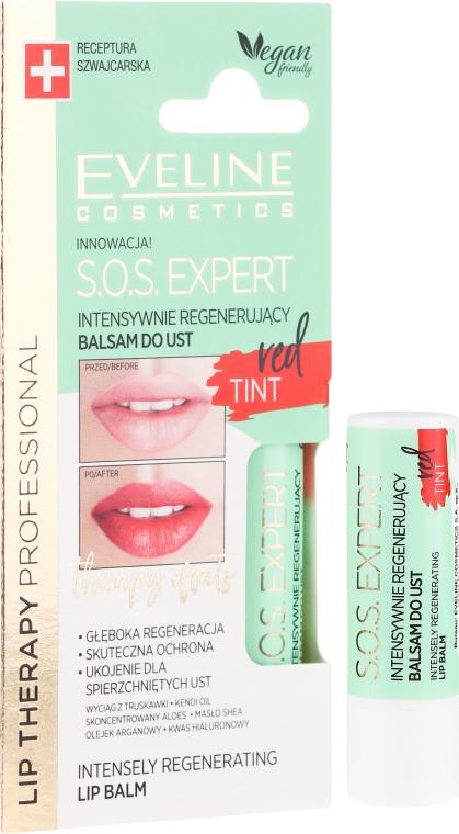 Intensywnie regenerujący balsam do ust Red Tint - Eveline Cosmetics Lip Therapy Professional SOS Expert Lip Balm — фото N1