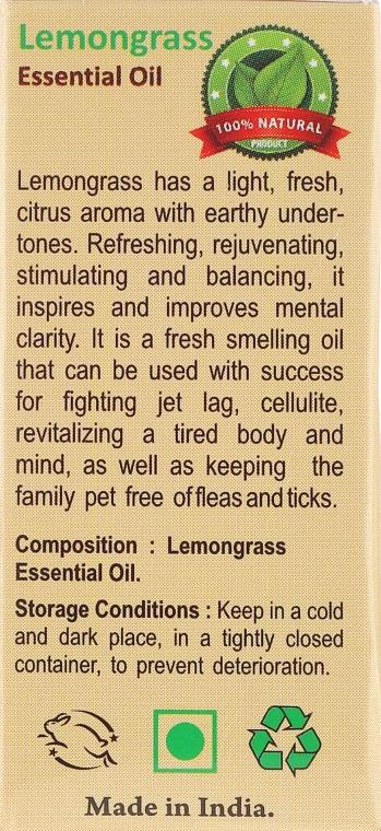 Olejek z trawy cytrynowej - Sattva Ayurveda Aromatherapy Lemongrass Essential Oil — фото N3