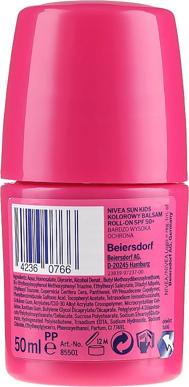 Ochronny krem dla dzieci - Nivea Sun Kids Protect & Care Coloured Roll-on Pink SPF 50+ — фото N2