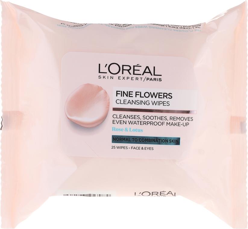 Oczyszczające chusteczki nawilżane do demakijażu do skóry normalnej i mieszanej - L'Oreal Paris Skin Expert Fine Flowers Normal Combination Cleansing Wipes — фото N1