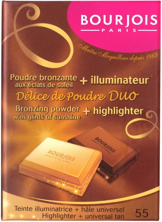 Puder do twarzy (w kompakcie) - Bourjois Delice De Poudre Bronzing Duo Powder + Highlighter — фото N1