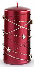 Kup PRZECENA! Świeca dekoracyjna, burgundowy walec, 7 x 14 cm - Artman Christmas Garland *