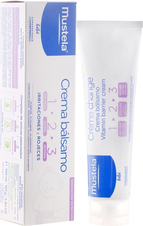 Krem witaminowo-ochronny do skóry pośladków dla dzieci - Mustela Bébé 1 2 3 Vitamin Barrier Cream — фото N1