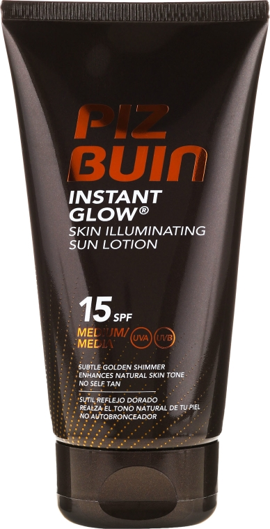 Rozświetlający lotion przeciwsłoneczny do ciała SPF 15 - Piz Buin Instant Glow Sun Lotion — фото N1