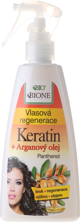 Keratynowy spray regenerujący do włosów - Bione Cosmetics Keratin + Argan Oil Hair Regeneration With Panthenol