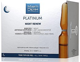 Kup Nawilżające ampułki do twarzy przeciw fotostarzeniu na noc - MartiDerm Platinum Night Renew Ampollas