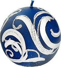 Kup Świeca dekoracyjna, kula niebieska z aplikacją, 8 cm - Artman Christmas Ornament