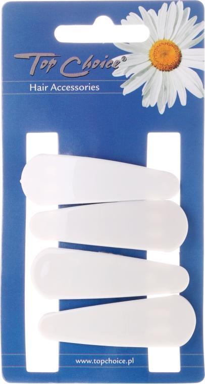 Spinka do włosów White Collection, biała, 4 szt. - Top Choice — фото N1