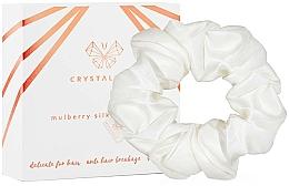 Kup Jedwabna gumka-scrunchie do włosów w kolorze kości słoniowej - Crystallove