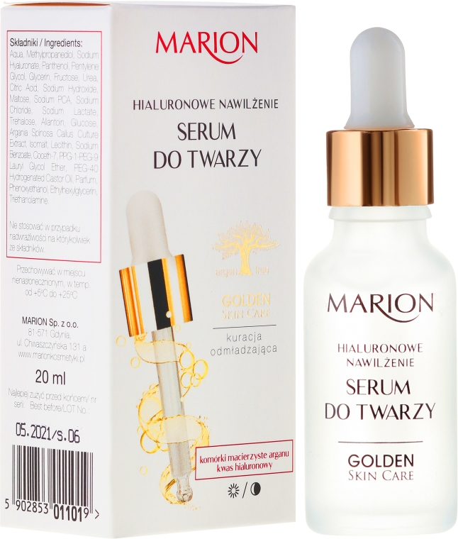 Serum do twarzy, szyi i dekoltu Hialuronowe nawilżenie - Marion Golden Skin Care
