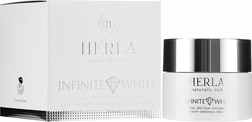 Przeciwstarzeniowy krem na dzień do twarzy wybielający przebarwienia SPF 15 - Herla Infinite White Total Spectrum Anti-Aging Day Therapy Whitening Cream — фото N1