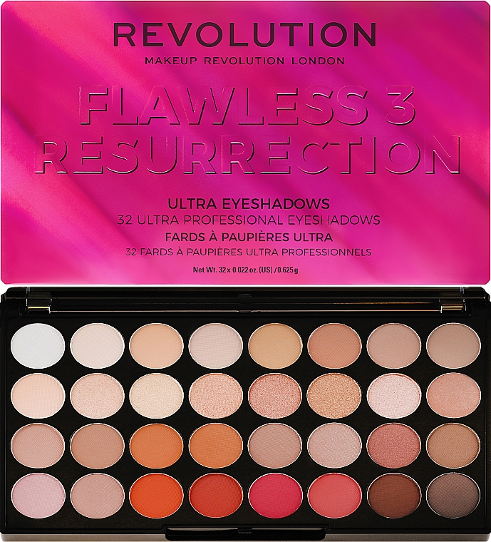 Paleta cieni do powiek - Makeup Revolution Ultra 32 Shade Palette Flawless 3 Resurrection
