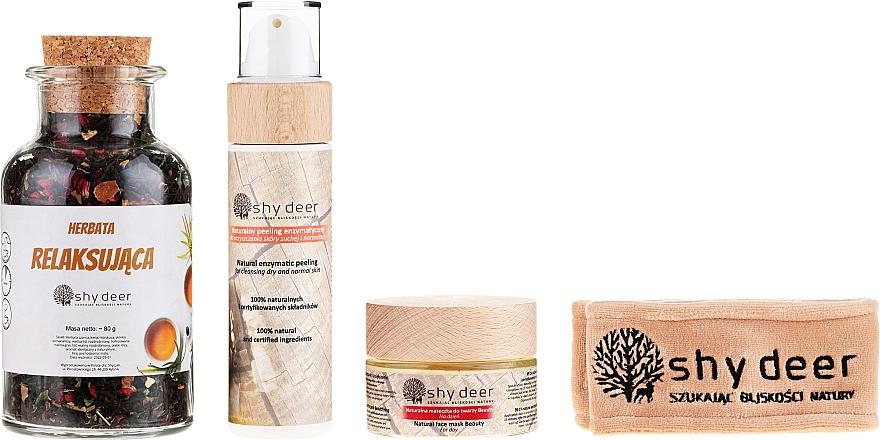 Zestaw do cery suchej i normalnej - Shy Deer Ritual Spa & Relax (mask 50 ml + peel 100 ml + tea 90 g + headband + bag) — фото N2