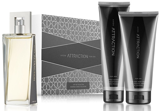 Avon Attraction For Him - Zestaw (edt 75 ml + ash/balm 100 ml + sh/gel 200 ml) — фото N1