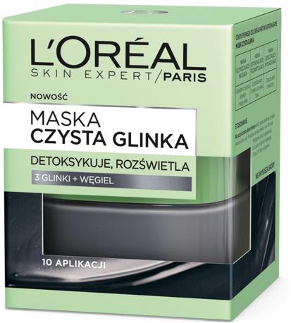 Detoksykująco-rozświetlająca maska z czystą glinką i węglem - L'Oreal Paris Skin Expert Pure Clay Detox Mask