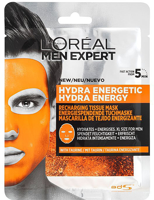 Maska do twarzy w płachcie dla mężczyzn - L'Oreal Paris Men Expert Hydra Energetic — фото N1