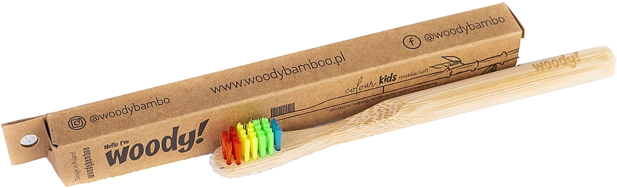 Bambusowa szczoteczka do zębów dla dzieci, miękkie kolorowe włosie - WoodyBamboo Bamboo Toothbrush Kids Soft/Medium