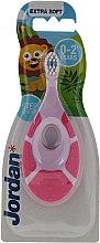 Kup Ekstramiękka szczoteczka do zębów dla dzieci 0-2 lat, fioletowo-różowa - Jordan Step By Step Extra Soft