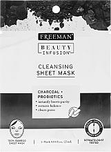 Kup Oczyszczająca maska na tkaninie z węglem i probiotykami - Freeman Beauty Infusion Cleansing Sheet Mask Charcoal & Probiotics