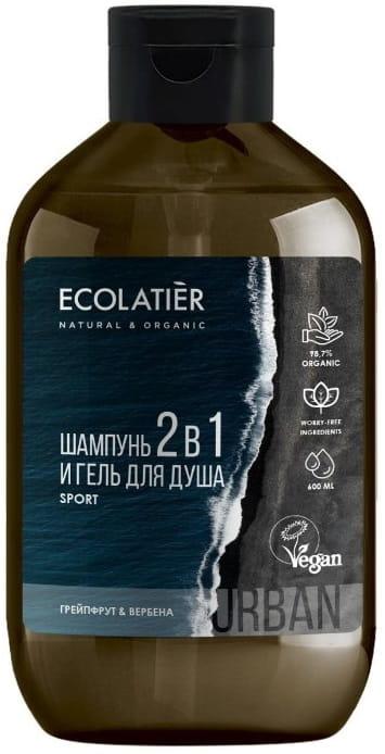 Żel pod prysznic i szampon 2 w 1 dla mężczyzn Grejpfrut i werbena - Ecolatier Urban Sport — фото N1