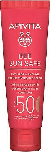 Tonizujący krem do twarzy z wodorostami i propolisem - Apivita Bee Sun Safe Anti-Spot & Anti-Age Defense Tinted Face Cream SPF 50 — фото N1