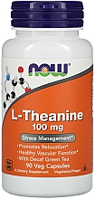 Suplement diety Teina, 100 mg - Now Foods L-Theanine Veg Capsules — фото N1