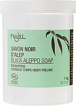 PRZECENA! Czarne peelingujące mydło aleppo z eukaliptusem - Najel Black Savon Noir Aleppo Soap Eucalyptus Body Peeling * — фото N3