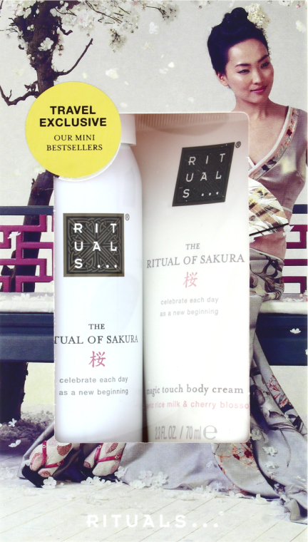 Zestaw podróżny Mleko ryżowe i kwiat wiśni - Rituals Cosmetics Mini Sakura Set (b/cr/70ml + sh/gel/50ml) — фото N1