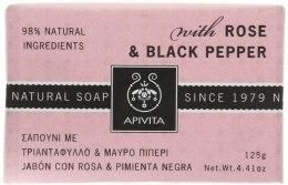 Kup Naturalne mydło w kostce Róża i czarny pieprz - Apivita Soap with Rose and Black Pepper