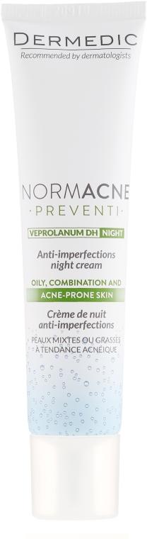 Krem na noc przeciw niedoskonałościom skóry - Dermedic Normacne Preventi Anti-Imperfections Night Cream