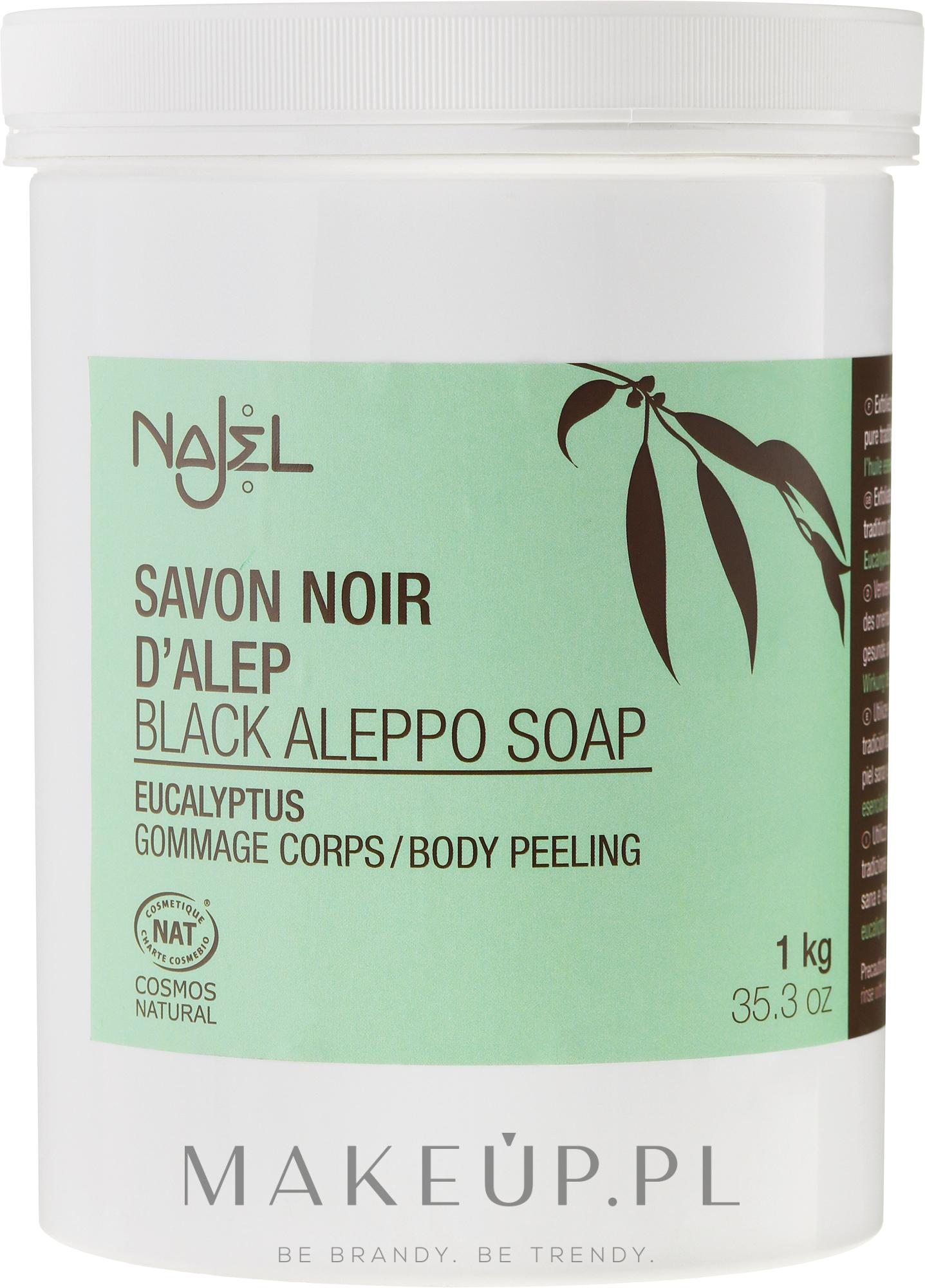 PRZECENA! Czarne peelingujące mydło aleppo z eukaliptusem - Najel Black Savon Noir Aleppo Soap Eucalyptus Body Peeling * — фото 1000 g