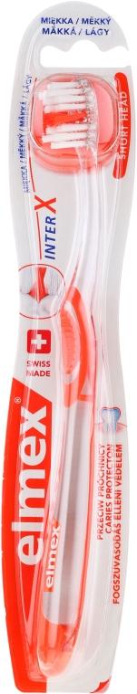 Miękka szczoteczka do zębów przeciw próchnicy, przezroczysto-pomarańczowa - Elmex Toothbrush Caries Protection InterX Soft Short Head — фото N1