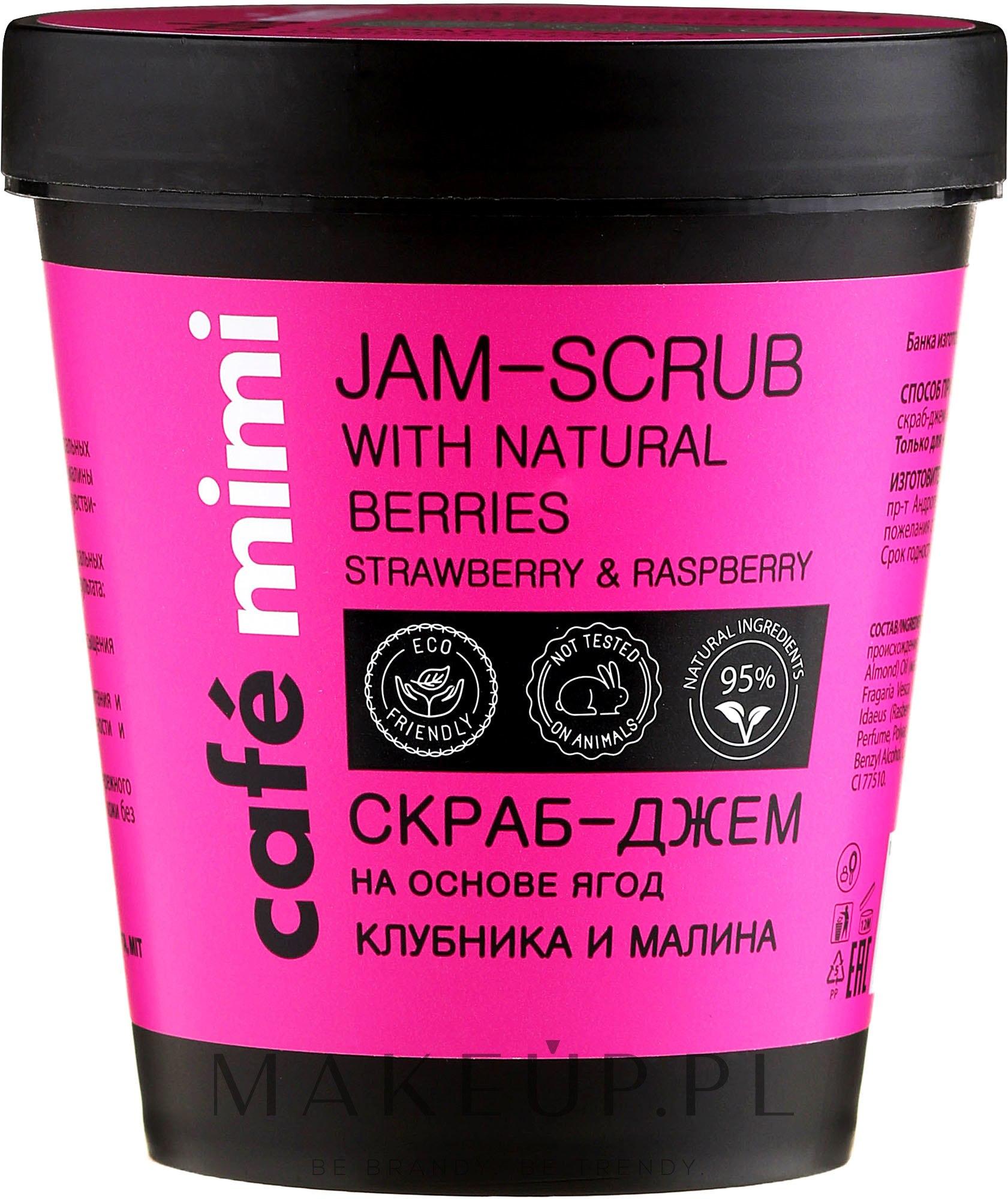 Peeling do ciała Truskawka i malina - Café Mimi Jam-Scrub With Natural Berries — фото 270 g
