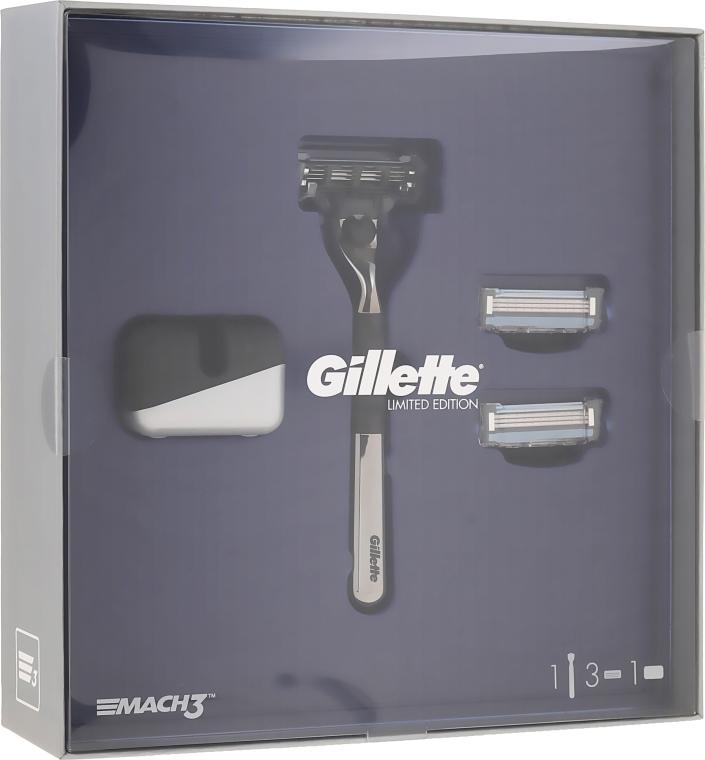 Maszynka do golenia dla mężczyzn z 2 zapasowymi ostrzami i standem - Gillette Mach3 Limited Edition