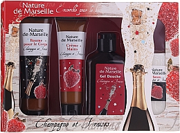 Kup Zestaw Truskawka i szampan - Nature De Marseille (sh/gel/150ml +cr/60ml + b/balm/100ml + soap/95g)