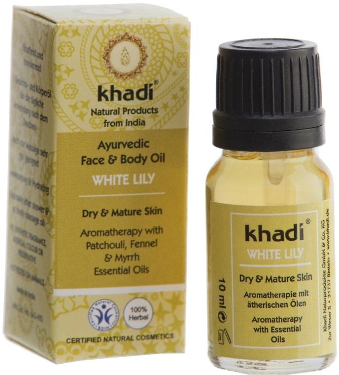 Olejek do twarzy i ciała do skóry suchej i dojrzałej Biała lilia - Khadi White Lily Ayurvedic Face & Body Oil — фото N3