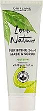Kup Oczyszczająca maseczka i scrub 2 w 1 z organicznym drzewem herbacianym i limonką - Oriflame Love Nature Purifyng 2-In-1 Mask & Scrub