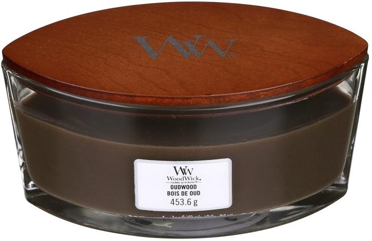 Świeca zapachowa w szkle - Woodwick Hearthwick Flame Ellipse Candle Oudwood — фото N2