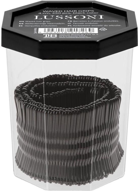 Wsuwki, 4 cm, czarne - Lussoni Waved Hair Grips 4 cm Black — фото N2