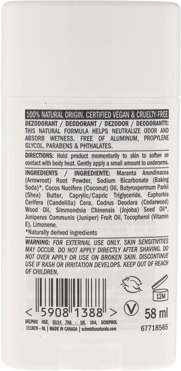 Naturalny dezodorant w sztyfcie Cedr i jałowiec - Schmidt's Deodorant Cedarwood Juniper — фото N2