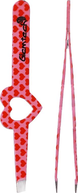 Pęseta do brwi, różowa z czerwonymi serduszkami - Glamtech Valentines Tweezer — фото N2