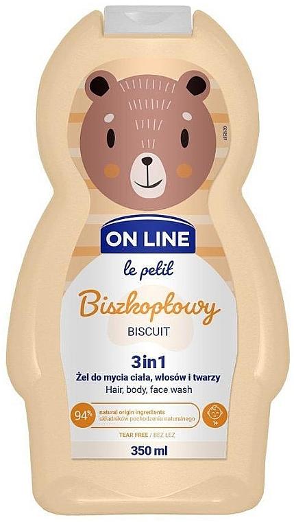 Biszkoptowy żel do mycia ciała, włosów i twarzy 3 w 1 - On Line Le Petit Biscuit 3 In 1 Hair Body Face Wash