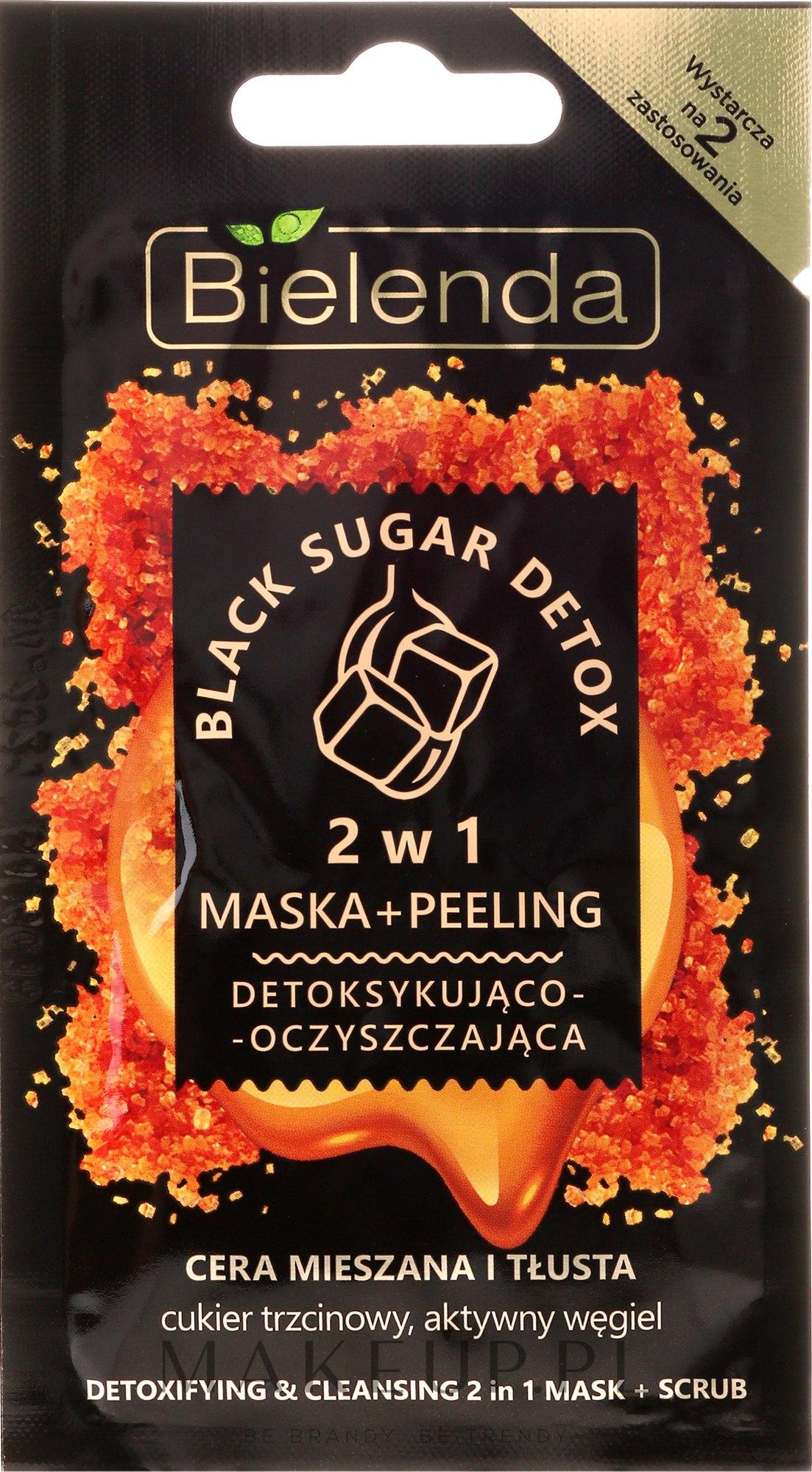 Detoksykująco-oczyszczająca maska i peeling 2 w 1 do cery mieszanej i tłustej - Bielenda Black Sugar Detox (miniprodukt) — фото 8 ml