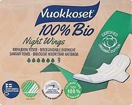 Kup Podpaski ze skrzydełkami, 9 szt. - Vuokkoset Bio Night Wings