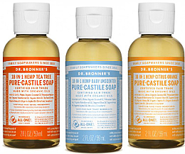 Kup PRZECENA! Zestaw - Dr. Bronner's 18-in-1 Pure Castile Soap (soap/ 3 x 60 ml) *