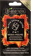 Detoksykująco-oczyszczająca maska i peeling 2 w 1 do cery mieszanej i tłustej - Bielenda Black Sugar Detox (miniprodukt) — фото N1