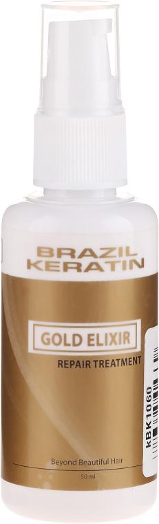 Naprawczy eliksir do włosów - Brazil Keratin Gold Elixir Repair Treatment — фото N1