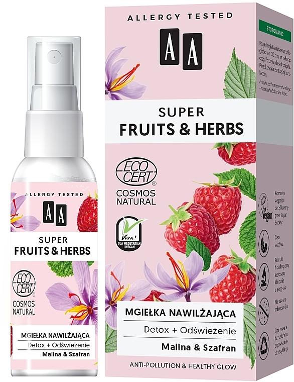 Nawilżająca mgiełka do twarzy Detoks + odświeżenie - AA Super Fruits & Herbs Natural